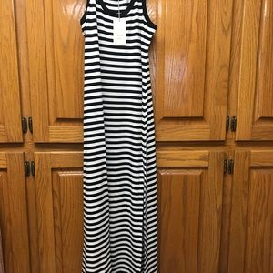 Size xsmall black white stripe maxi dress new